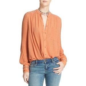 Free People Best Button Front Blouse Orange, sz L